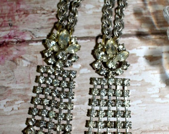 VIntage Waterfall, earrings, assemblage, rhinestones
