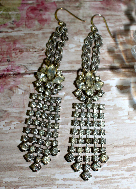 Vintage waterfall earrings assemblage rhinestones for Waterfall design etsy