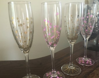 Pink & Gold Hand Painted Champagne Glasses