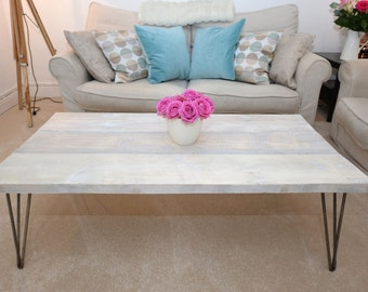White washed reclaimed wood coffee table