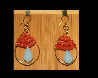 Bohemian style made of orange beads and Czech glass earrings