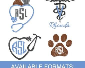 Veterinarian Monogram SVG, DXF, jpg, png, pdf digital cut file, Veterinarian Vector File, Pet Lover Graphic Download, Vet digital download