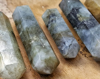 Labradorite Double Terminated Point  - Hand Cut Natural Stone Point for Crystal Grids or Terrarium 247