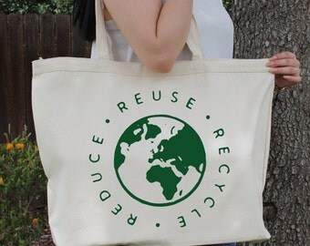 Reduce Reuse Recycle ~  Large Canvas Tote Beach/Grocery BAG
