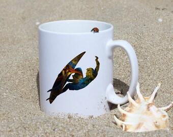 Surf Mug - Art Mug - White Ceramic Mug - Colorful Printed Mug - Tee Mug - Coffee Mug - Gift