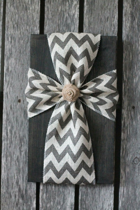 Rustic Burlap Wall Decor : Rustic burlap cross wood sign wall decor