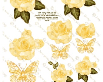 Yellow Roses & Butterflies