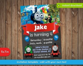 Thomas the train invitation - Printable birthday party invite - INSTANT PDF DOWNLOAD
