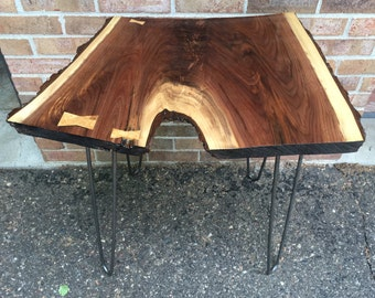 Live Edge Walnut Slab Table (Side Table, End table)