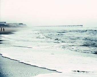 Seaside Photography, Coastal Print, Pier, Blue Water