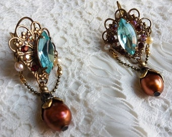KRYSTALLINE LOOK. Exotic slopes with water marina and over Brass filigree swarovski crystal,