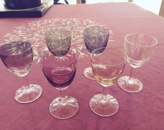 Six Colored Luster Glass Dessert Wine/Cordial Stemware