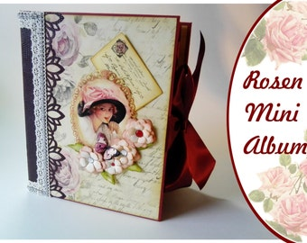 "Roses mini album - scrapbook album for photos - 9 ""x 7"""