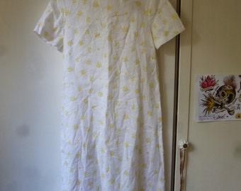 vintage long white flowered dress