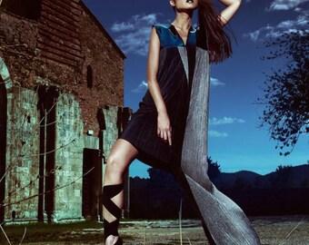 Hand made / italian fabric/ pleated dress /leather top