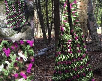 market bag, produce bag, beach bag, crochet, pink, green, cream
