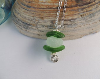 Genuine Green and Opalescent Sea Glass Necklace