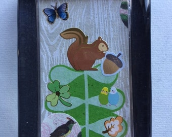 Squirrel, Butterfly and Bird Collage Paperweight