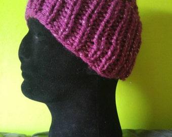 Handmade knitted glitter hat