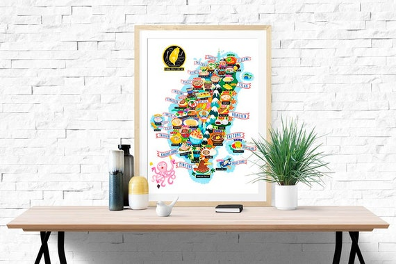 Taiwan Street Food Map Illustration (UK shipping inclusive) ((15% this January/February, use code JAN17SALE15)