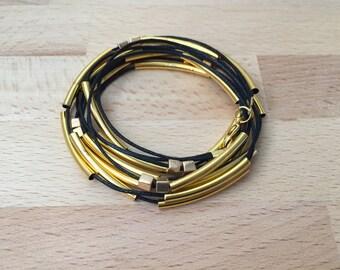 Gold tube wrap bracelet gold bracelet black bracelet waxed cotton cord bracelet stackable bracelet gift for her