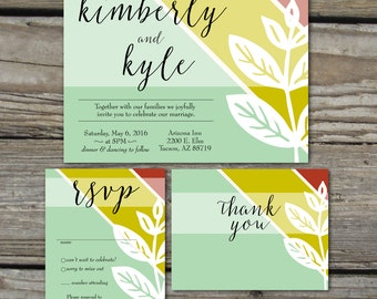 Fall Leaf Wedding Invitation Package  | Wedding Invitation | Thank You | Engagement Announcement | Save the Date | Digital Download