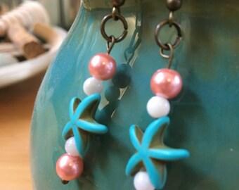 Handmade, Boho, Beach, Starfish, Charm, Pink Pearl, White Pearl, Bronze, Dangle, Drop, Earrings
