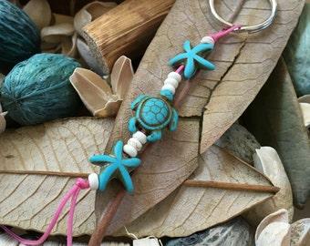 Handmade, Boho, Beach, Turquoise Starfish, Turquoise Sea Turtle, Charm, Pink Nylon Cord, Key Chain, Key Fob, Lanyard, Purse Charm, Bag Charm