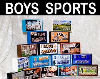 Sports Little Boys Men High School College Single Stack Wood Sign Handmade Gift Personalized Gift for Him Basketball Football Baseball