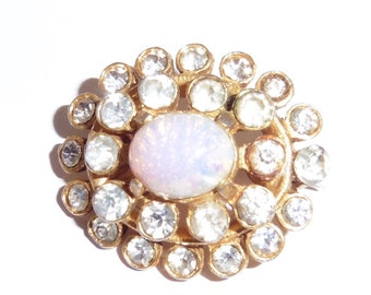 Opal and stones oval vintage brooch