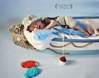 Newborn Fishing Set Pattern, Crochet Pattern, Newborn Photo Prop Pattern, Newborn Overall Pattern, Crochet Fish Pattern, Newborn Crochet