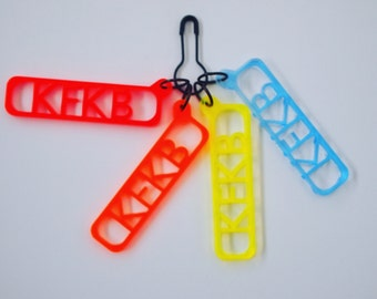 Pattern reminder knitting stitch markers; set of 4 KFKB (Knit Front Knit Back)