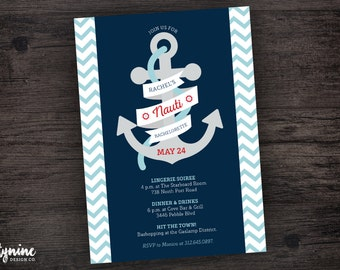 Nauti Bachelorette Party Invitation Nautical Theme