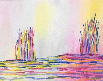 Original abstract watercolor painting-Color theme: blue, yellow and red (#02)