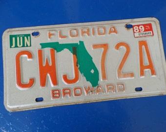 Vintage license plate Florida Broward 1989