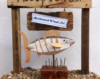 Stripey Fish, swimming amongst the reeds, rusty nails, freestanding, home decor, gift, Stripey, fish 3D