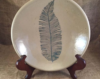 Stoneware Serving Bowl with Leaf Impression