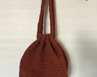 Burnt Orange Crochet Drawstring Bag