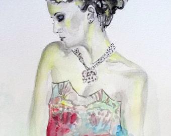 Original watercolor portrait,woman,figure,yellow,blue,black,magenta,colorful,flower