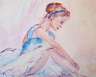 SALE- Original ballerina painting,ballet art,dance art,sitting ballerina,figurative painting,blue ballerina,white ballerina