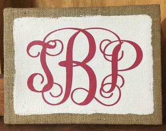 Monogram Burlap Canvas