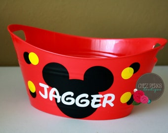 Personalized Bucket , mickey  , birthday gift , Gift basket