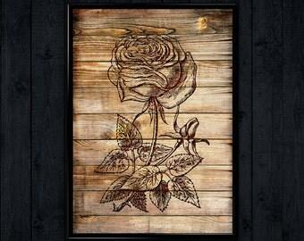 Flower Print, Rose Illustration, gift idea art,  Minimalist Poster  WP144