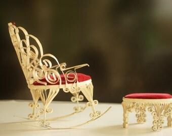 Miniature Chair, Vintage Chair, Victoian Chair, Primitive Folk Art, Tramp Tin Can Chair, Doll Furniture, Folk Art Chair, Wrought Iron,