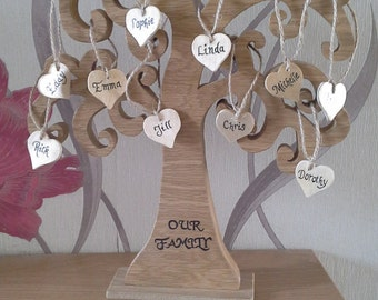 Handmade wood Family tree with personalised hearts