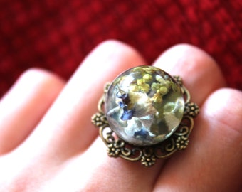 Dried hydrangea ring in resin