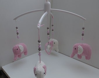 Music mobile elephant pink/Cream