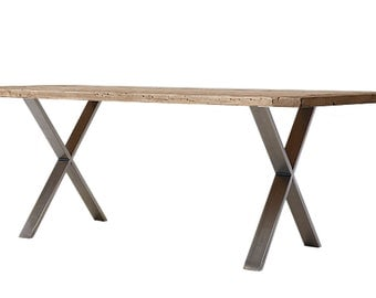 Solid Oak Dining Table distressed INDUSTRIAL