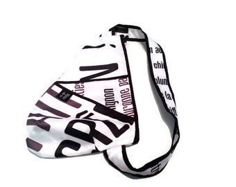 White text on back small bag black