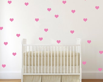 Heart decals, Vinyl Wall Art Hearts, Vinyl heart decals, wall confetti, heart wall confetti, nursery wall decals, baby nursery decals, vinyl